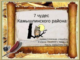 7 чудес Камышлинского района Чумаев Александр, учащийся 8 класса ГКС(К)ОУ с.