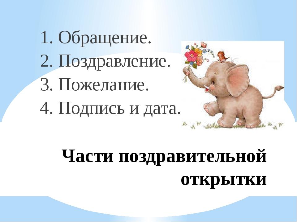 Части поздравительной открытки 1. Обращение. 2. Поздравление. 3. Пожелание. 4...