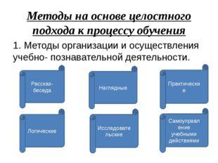 Методы на основе целостного подхода к процессу обучения 1. Методы организации