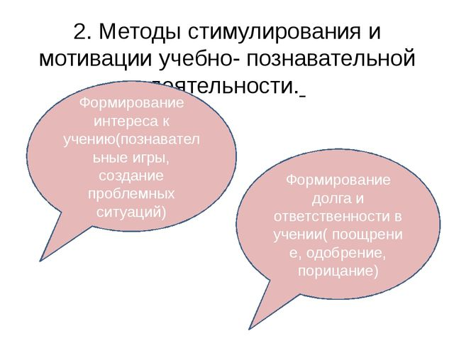 2. Методы стимулирования и мотивации учебно- познавательной деятельности. Фор...