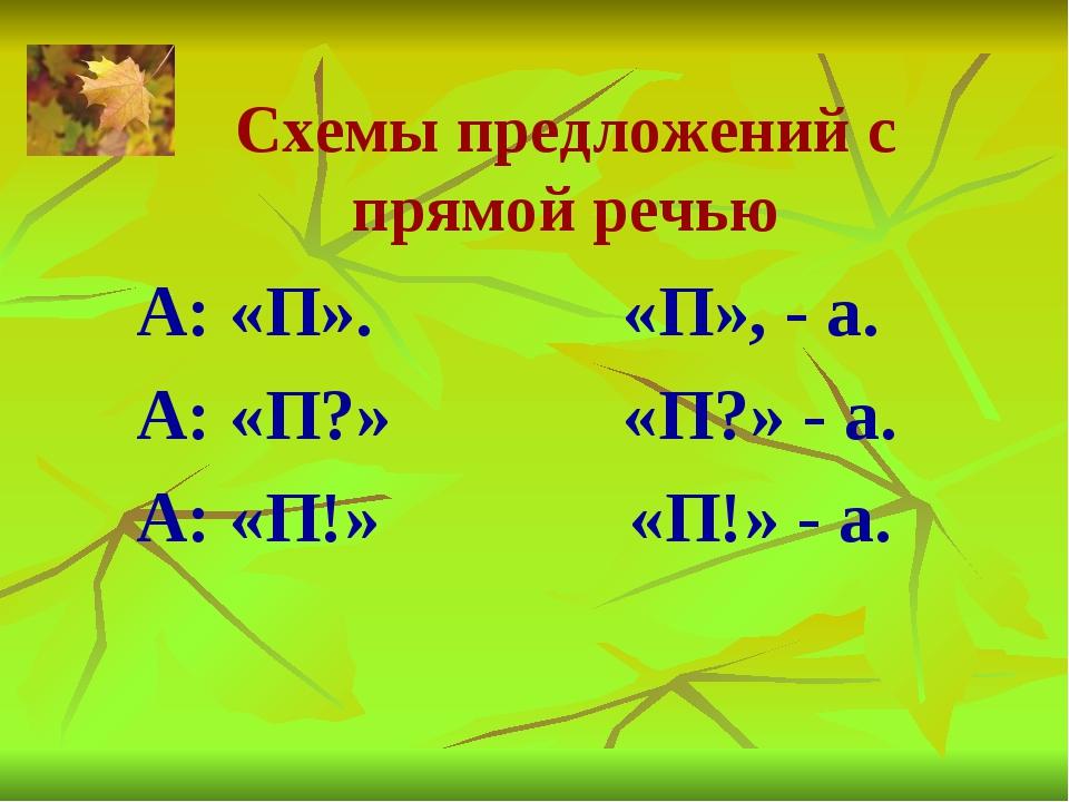Схемы предложений с прямой речью А: «П». «П», - а. А: «П?» «П?» - а. А: «П!»...