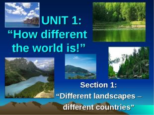 "UNIT 1: ""How different the world is!"" Section 1: ""Different landscapes – dif"