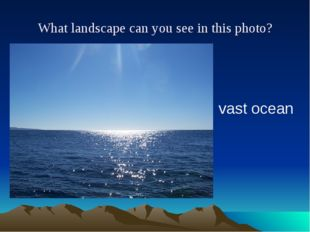 What landscape can you see in this photo? vast ocean