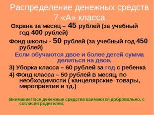Распределение денежных средств 7 «А» класса Охрана за месяц – 45 рублей (за у