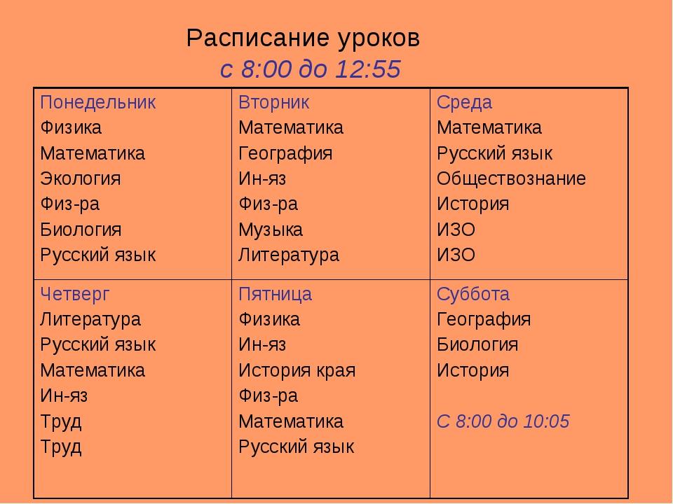 Расписание уроков с 8:00 до 12:55