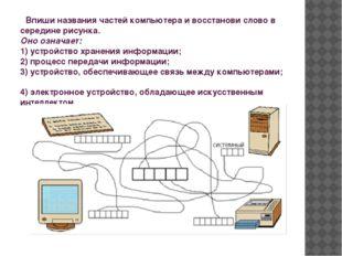 Впиши названия частей компьютера и восстанови слово в середине рисунка. Оно