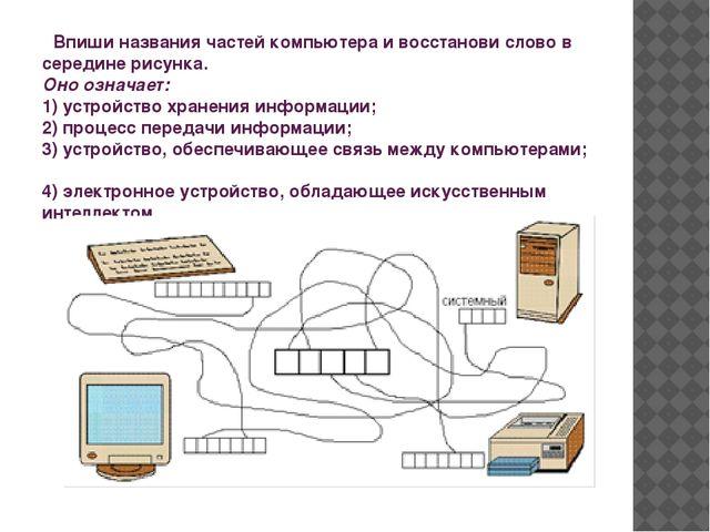 Впиши названия частей компьютера и восстанови слово в середине рисунка. Оно...