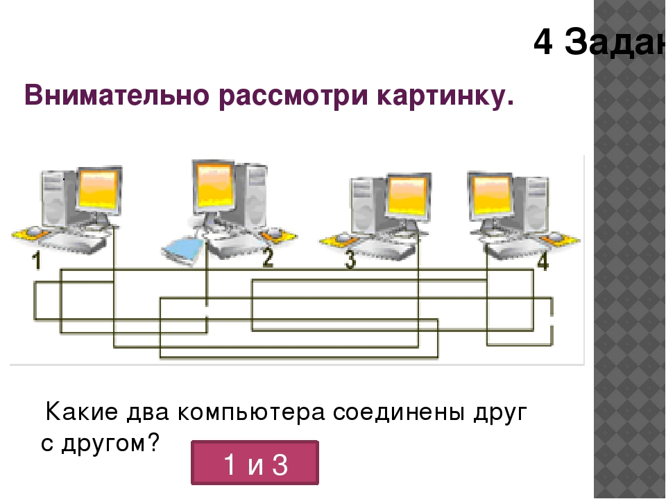 Внимательно рассмотри картинку. . Какие два компьютера соединены друг с друг...