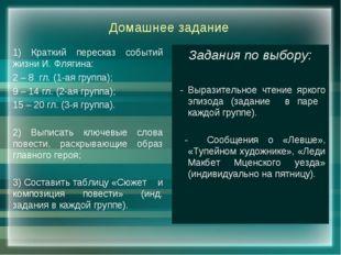 Домашнее задание 1) Краткий пересказ событий жизни И. Флягина: 2 – 8 гл. (1-а