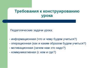 Требования к конструированию урока Педагогические задачи урока: - информацион