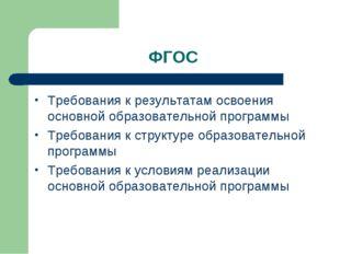 ФГОС Требования к результатам освоения основной образовательной программы Тре
