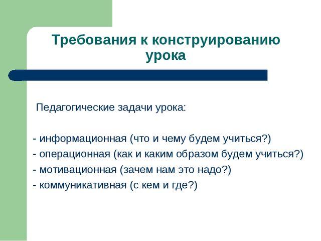 Требования к конструированию урока Педагогические задачи урока: - информацион...
