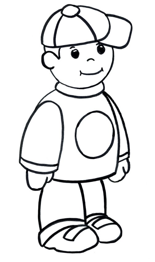 рисунок мальчика раскраска для детей