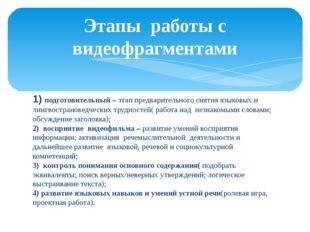 1) подготовительный – этап предварительного снятия языковых и лингвострановед