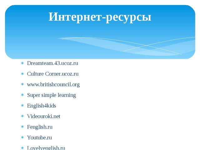 Dreamteam.43.ucoz.ru Culture Corner.ucoz.ru www.britishcouncil.org Super simp...