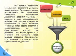 А.В. Толстых предложил использовать возрастную динамику жизни человека. Этот
