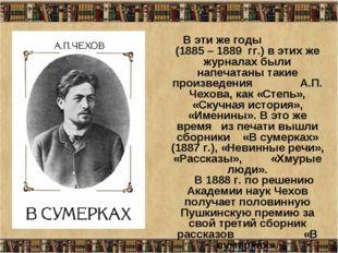 * В эти же годы (1885 – 1889 гг.) в этих же журналах были напечатаны такие пр