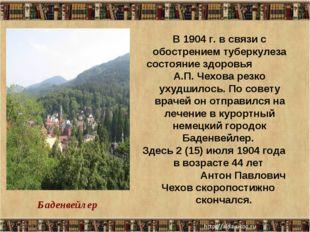 * * В 1904 г. в связи с обострением туберкулеза состояние здоровья А.П. Чехов