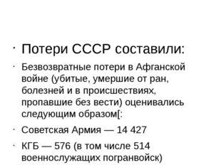 Потери СССР составили: Безвозвратные потери в Афганской войне (убитые, умерш
