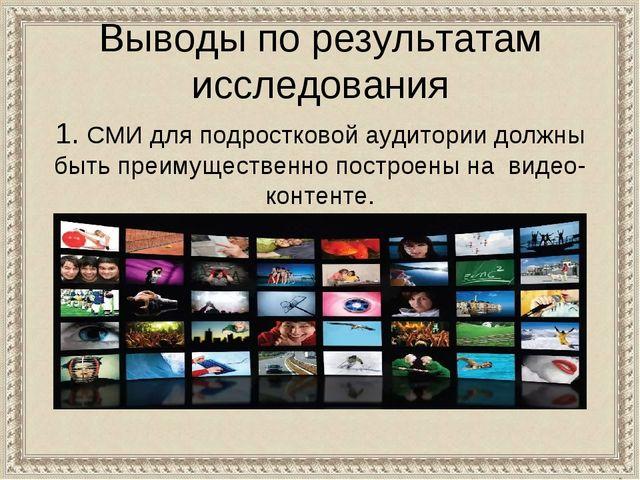 Выводы по результатам исследования 1. СМИ для подростковой аудитории должны б...