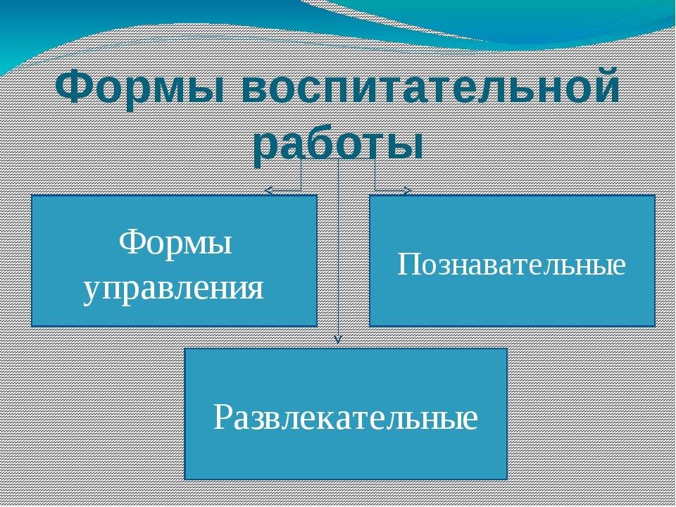Формы воспитательной работы Развлекательные Познавательные Формы управления