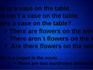 + There is a vase on the table. - There isn`t a vase on the table. ? Is ther