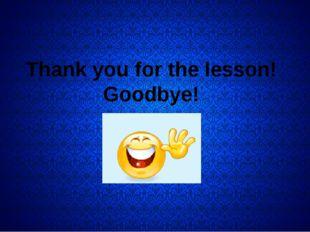 Thank you for the lesson! Goodbye!