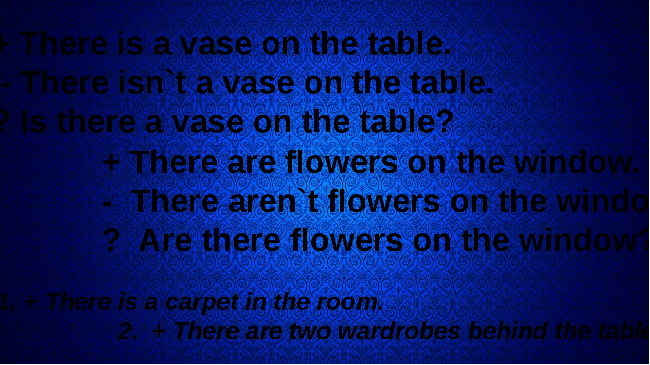 + There is a vase on the table. - There isn`t a vase on the table. ? Is ther...