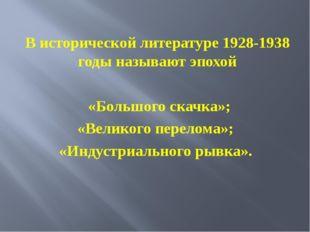 В исторической литературе 1928-1938 годы называют эпохой «Большого скачка»; «