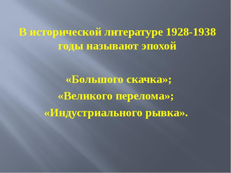 В исторической литературе 1928-1938 годы называют эпохой «Большого скачка»; «...
