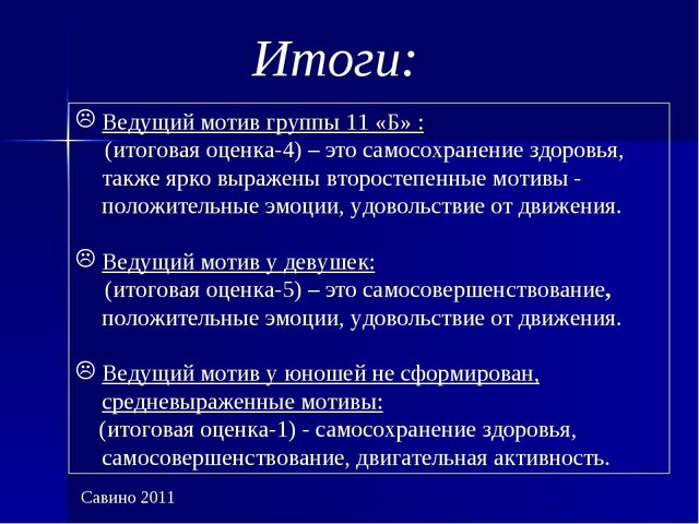 Итоги: Ведущий мотив группы 11 «Б» : (итоговая оценка-4) – это самосохранение...