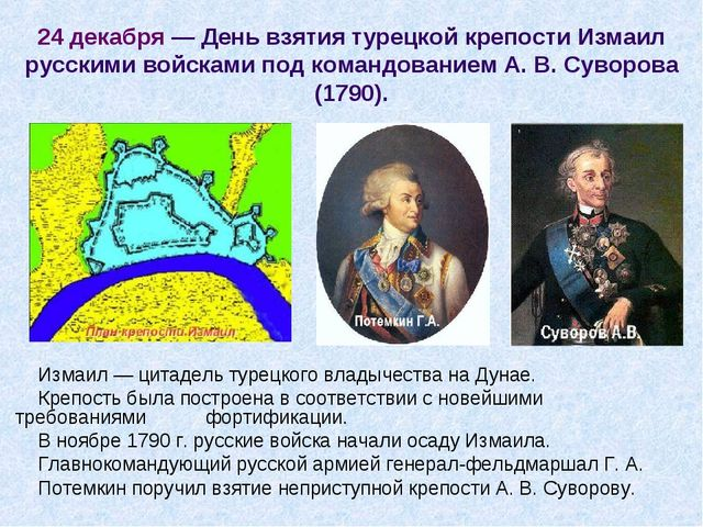 24 декабря — День взятия турецкой крепости Измаил русскими войсками под коман...