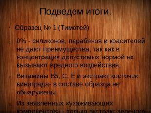 Подведем итоги. Образец № 1 (Тимотей) 0% - силиконов, парабенов и красителей