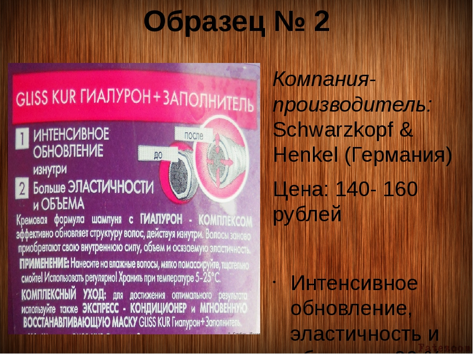 Образец № 2 Компания-производитель: Schwarzkopf & Henkel (Германия) Цена: 140...