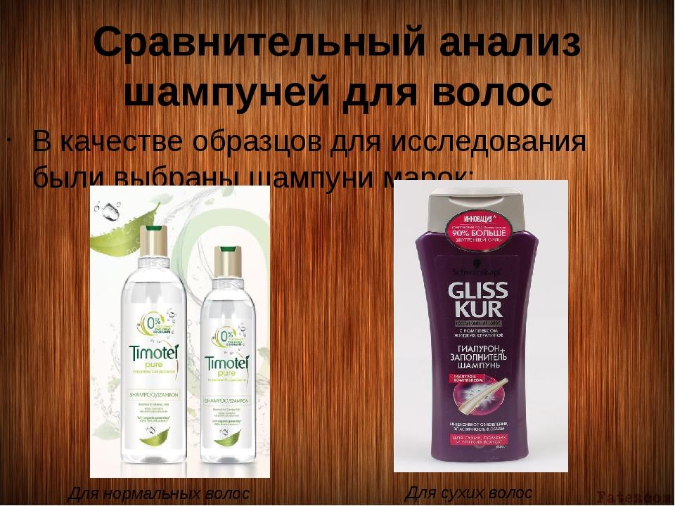 Сравнительный анализ шампуней для волос В качестве образцов для исследования...