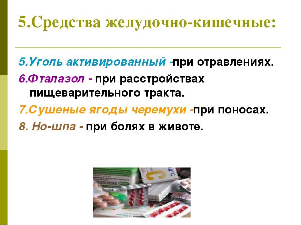 5.Средства желудочно-кишечные: 5.Уголь активированный -при отравлениях. 6.Фта...