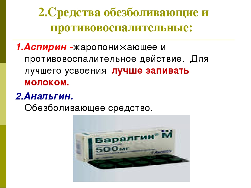 2.Средства обезболивающие и противовоспалительные: 1.Аспирин -жаропонижающее...