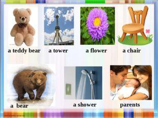 a teddy bear a tower a flower a chair a bear a shower parents
