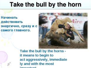 Take the bull by the horn Начинать действовать энергично, сразу и с самого