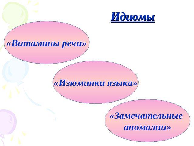 Идиомы «Витамины речи» «Замечательные аномалии» «Изюминки языка»