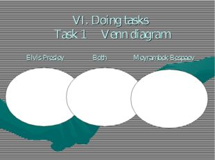 VI. Doing tasks Task 1 Venn diagram Elvis Presley Both Meyrambek Bespaev Elvi
