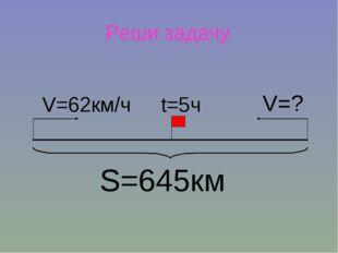 S=645км V=62км/ч V=? t=5ч Реши задачу