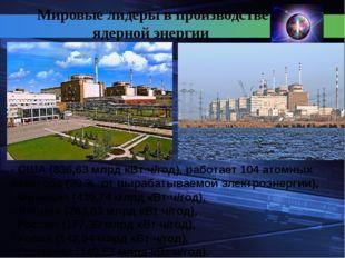Мировые лидеры в производстве ядерной энергии - США (836,63 млрд кВт·ч/год),