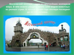 Московский зоопарк – один из крупнейших зоопарков мира. В нём можно увидеть