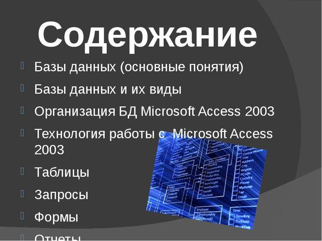Базы данных (основные понятия) Базы данных и их виды Организация БД Microsoft...