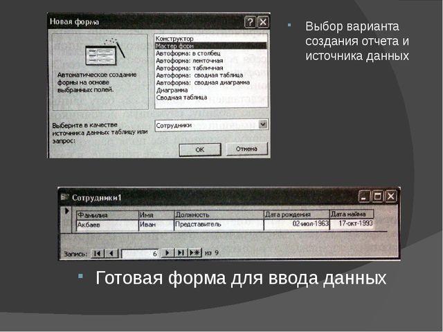Выбор варианта создания отчета и источника данных Готовая форма для ввода дан...