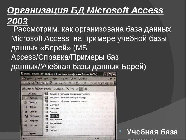 Организация БД Microsoft Access 2003 Рассмотрим, как организована база данных...