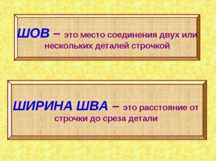 ШОВ – это место соединения двух или нескольких деталей строчкой ШИРИНА ШВА –