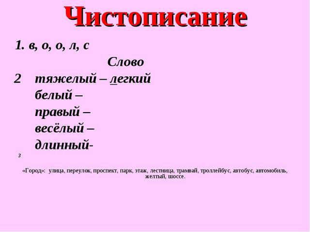Чистописание 1. в, о, о, л, с Слово 2 тяжелый – легкий белый – правый – весёл...