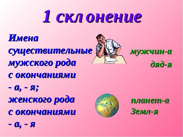 1 склонение Имена существительные мужского рода с окончаниями - а, - я; женск...